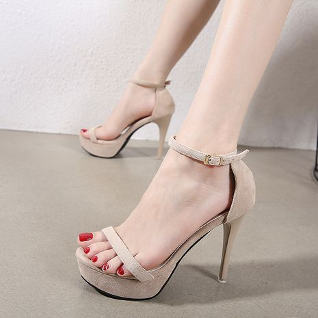 new women's fashion thin high heel waterproof platform suede sandals wholesale nihaojewelry NHSO235016's discount tags
