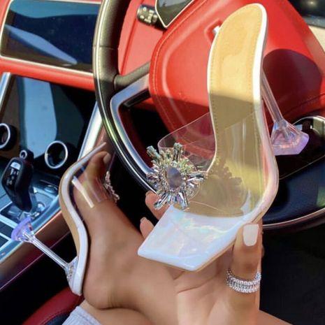 nouvelles femmes strass soleil fleur transparent tête carrée sandales à talons hauts en gros nihaojewelry NHSO235022's discount tags