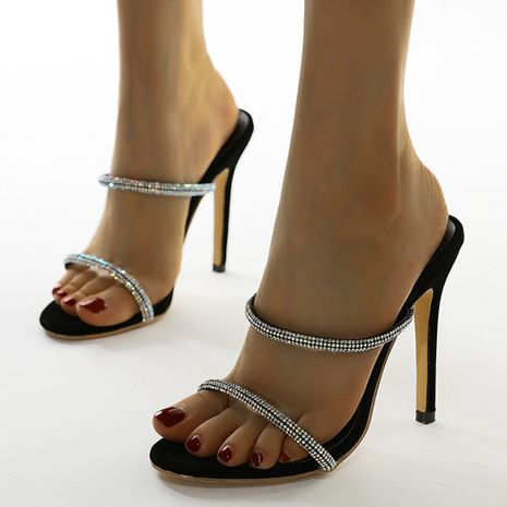 new women's simple crystal rhinestone thin high-heeled belt sandals plus size wholesale nihaojewelry NHSO235025's discount tags