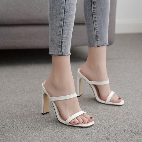 nouvelles femmes simples pantoufles à talons hauts tête carrée racine carrée sandales en gros nihaojewelry NHSO235031's discount tags