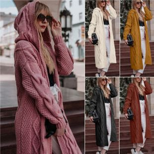 hot sale new fashion solid color hooded long section cardigan twist sweater wholesale nihaojewelry NHYF235032's discount tags
