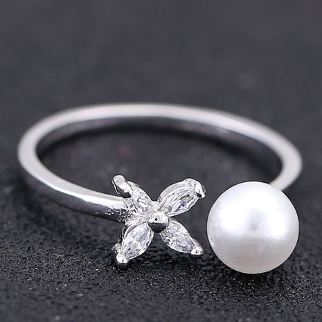 Korean fashion sweet and simple pearl four-leaf personality open ring wholesale   NHSC235711's discount tags
