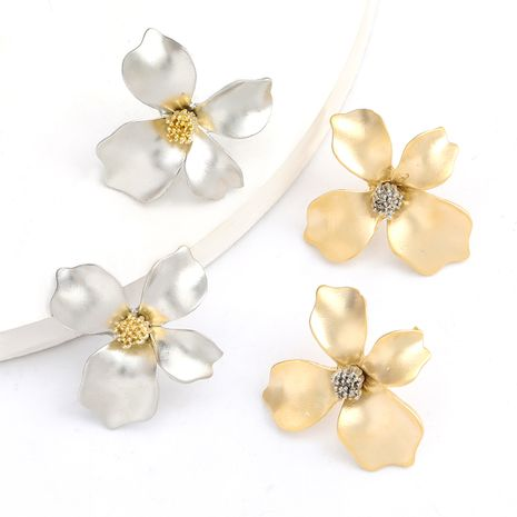 Fashion Korean alloy flower S925 silver needle hypoallergenic earrings jewelry wholesale nihaojewelry NHJE235037's discount tags