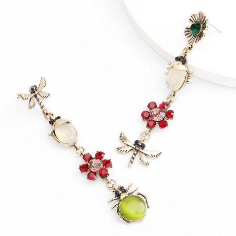 Moda color serie aleación diamante rhinestone libélula flor largos pendientes asimétricos al por mayor nihaojewelry NHJE235048's discount tags