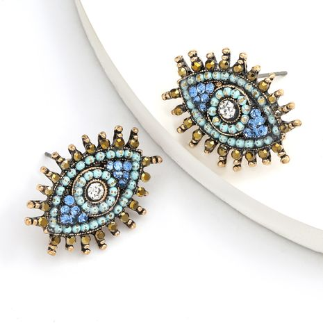 alloy spray-painted diamond rhinestone eyes earrings retro style earrings wholesale nihaojewelry NHJE235049's discount tags
