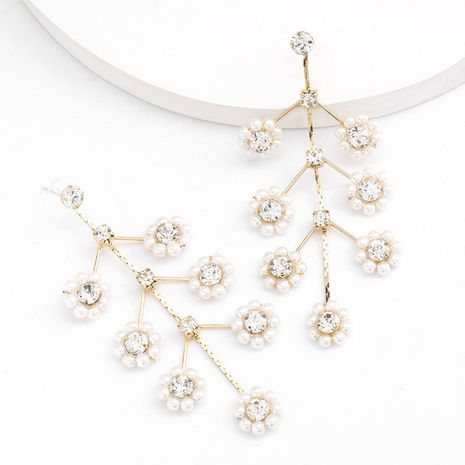Korean Simple Multilayer Alloy Diamond and Pearl Flower S925 Silver Post Earring wholesale nihaojewelry NHJE235050's discount tags