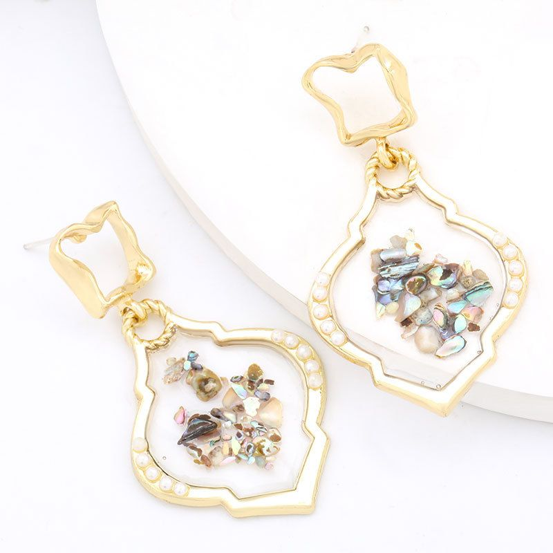 Korea simple alloy resin inlaid pearl geometric earrings wholesale nihaojewelry NHJE235051