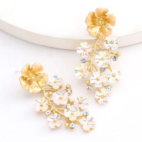 Korea's multi-layer alloy resin flower S925 silver needle earrings wholesale nihaojewelry NHJE235052's discount tags