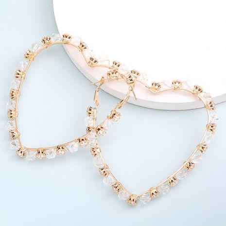 hot sale hollow love heart-shaped alloy diamond-set rhinestone crystal earrings  wholesale nihaojewelry NHJE235058's discount tags