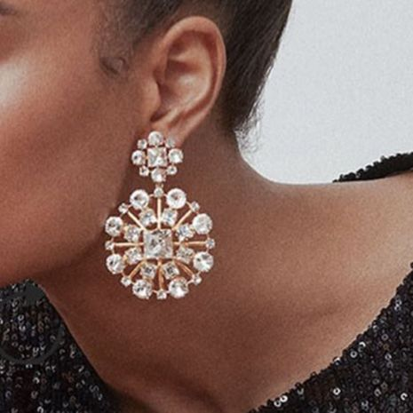 Fashion Color Diamond Series Multi-layer Alloy Diamond Rhinestone Flower Claw Chain Elegant Earrings wholesale nihaojewelry NHJE235059's discount tags