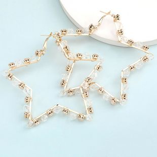 hot sale hollow five-pointed star alloy diamond rhinestone crystal earrings wholesale nihaojewelry NHJE235060's discount tags