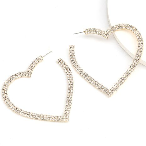 claw chain series notch love heart-shaped alloy diamond rhinestone earrings retro exaggerated earrings wholesale nihaojewelry NHJE235062's discount tags
