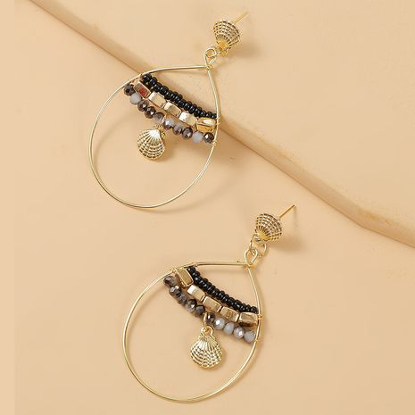 geometric water drop handmade shell beaded earrings trend woven crystal earrings jewelry wholesale nihaojewelry NHLA235066's discount tags