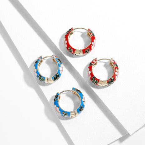 Exquisitos pendientes de anillo hipster de moda retro micro-set pendientes de circón de color pendientes de moda al por mayor nihaojewelry NHLL235068's discount tags