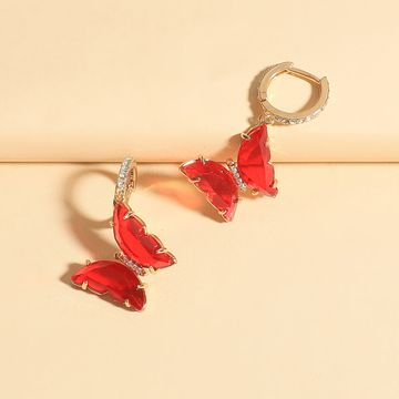 Korean fashion earrings new wave butterfly crystal earrings wholesale nihaojewelry NHLL235076