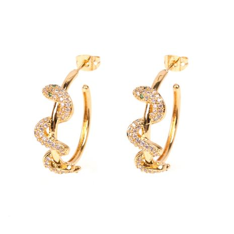 creative micro-set zircon spirit snake earrings exaggerated ear ring snake-shaped earrings wholesale nihaojewelry NHPY235085's discount tags