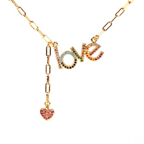 creative new necklace LOVE peach heart necklace alphabet pendant necklace wholesale nihaojewelry NHPY235091's discount tags