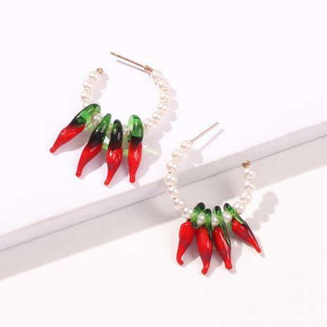 new  red chili creative earrings fashion pearl beaded small fresh earrings nihaojewelry wholesale  NHMD235107's discount tags