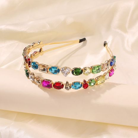 fashion double-layer alloy color diamond headband trend hair accessories headband wholesale nihaojewelry NHMD235117's discount tags