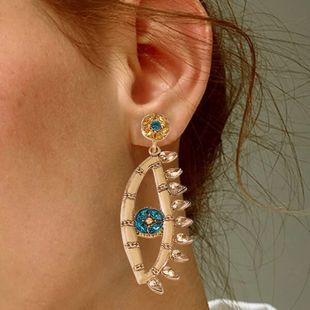 new Baroque new earrings creative fashion devil's eye fan-shaped tassel  diamond earrings nihaojewelry wholesale  NHMD235123's discount tags