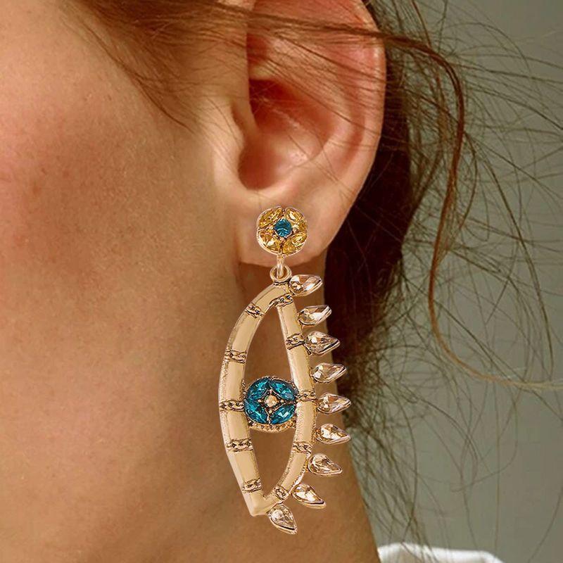 new Baroque new earrings creative fashion devil's eye fan-shaped tassel  diamond earrings nihaojewelry wholesale  NHMD235123