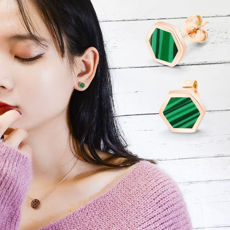 green agate shell earrings titanium steel color-preserving plating thick gold jewelry wholesale nihaojewelry NHOK235126's discount tags