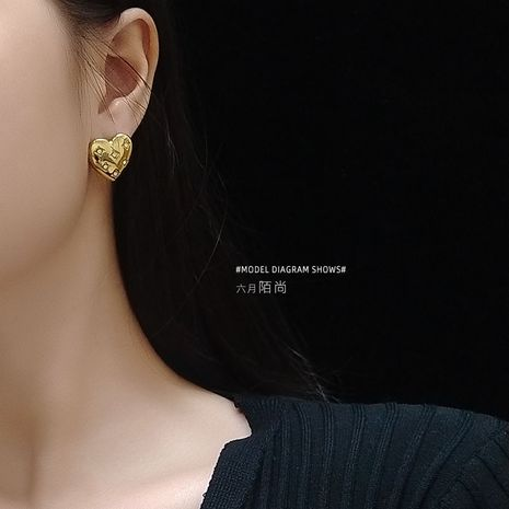 fashion golden color texture full of diamond earrings jewelry wholesale nihaojewelry NHOK235136's discount tags