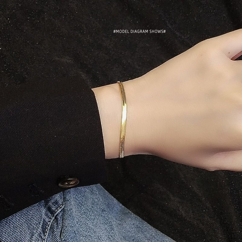 Blade Chain Bracelet Fashion Titanium Steel Jewelry 18K Real Gold Plated wholesale nihaojewelry NHOK235155