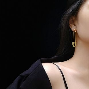 pin exaggerated earrings jewelry titanium steel plated 18K real gold non-fading earrings women NHOK235167's discount tags
