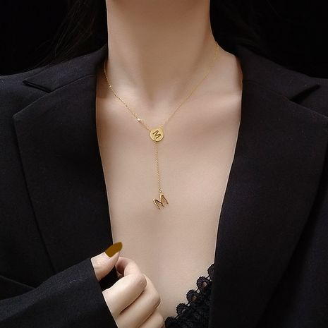 M letter hollowed Y-shaped tassel diamond collarbone necklace plated real gold hypoallergenic wholesale nihaojewelry NHOK235183's discount tags