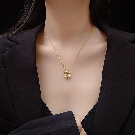 Acier au titane de qualité plaquage non décoloré petit cercle de tourbillon collier plaqué or collier en gros nihaojewelry NHOK235186's discount tags