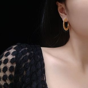 glass beads round edge simple geometric plane fog gold earrings titanium steel hoop earrings women NHOK235190's discount tags