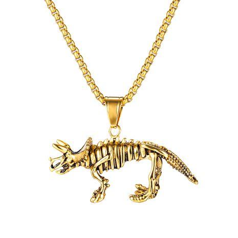 Venta caliente retro dinosaurio esqueleto colgante hombres dominantes de acero de titanio collar de unicornio al por mayor nihaojewelry NHOP235234's discount tags