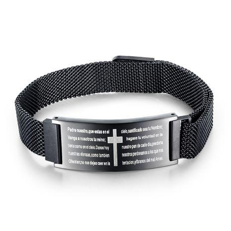 populaire scripture croix titane acier bracelet rétro bracelet réglable bijoux en gros nihaojewelry NHOP235237's discount tags