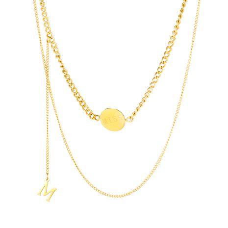 Coréenne simple double titane collier en acier lettre mode multicouche chaîne de clavicule en gros nihaojewelry NHOP235250's discount tags
