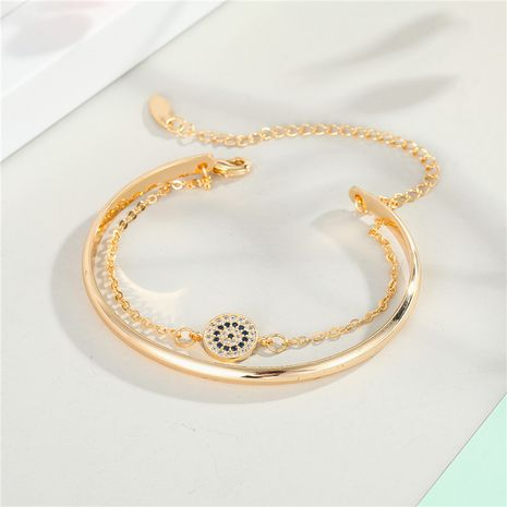 zircon eye bracelet new gold-plated diamond chain opening cuff eye bracelet wholesale nihaojewelry NHGO235258's discount tags