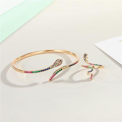 bracelet zircon plaqué or diamant serpent ouverture bracelet couleur zirconium serpent anneau en gros nihaojewelry NHGO235259's discount tags