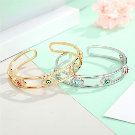 zircon eye bracelet new gold plated diamond drop oil opening bangle eye bracelet wholesale nihaojewelry NHGO235263's discount tags