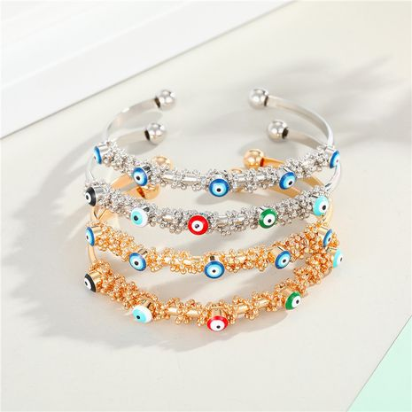 Colorful Dripping Eye Bracelet Gold Plated and Diamond Ladies Bangle Bracelet wholesale nihaojewelry NHGO235262's discount tags