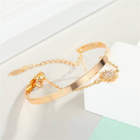 Zircon Sun Bracelet New Gold Plated Diamond Bangle Eye Bracelet wholesale nihaojewelry NHGO235272's discount tags