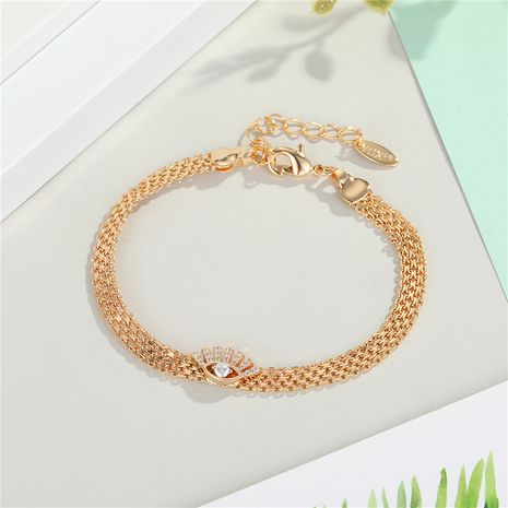 zircon eye bracelet new gold-plated diamond inlaid palm snake bone eye bracelet wholesale nihaojewelry NHGO235273's discount tags