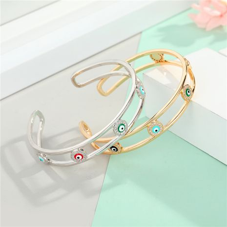 Color zircon eye bracelet new gold plated diamond drop oil bangle bracelet wholesale nihaojewelry NHGO235279's discount tags