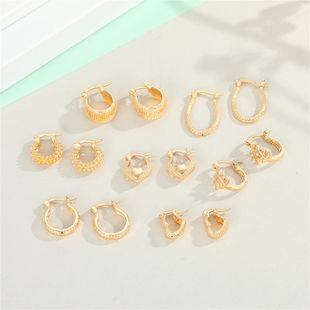 fashion hoop earrings set wholesale simple gold earrings set love oval small earrings women NHGO235283's discount tags