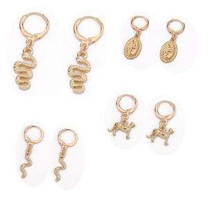 punk animal metal earrings set simple small snake leopard earrings wholesale NHGO235284's discount tags