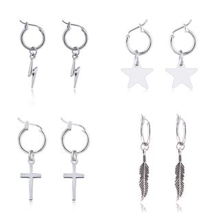 4 pairs star earrings set wholesale retro punk feather cross lightning five-pointed star earrings set  NHGO235285's discount tags