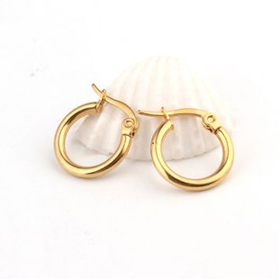 14mm stainless steel titanium steel round earrings fashion personality gold earrings nihaojewelry wholesale NHGO235294's discount tags