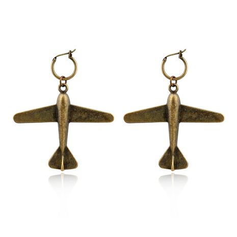retro exaggerated bronze earrings aircraft arrow love key pendant earrings  nihaojewelry wholesale  NHGO235296's discount tags