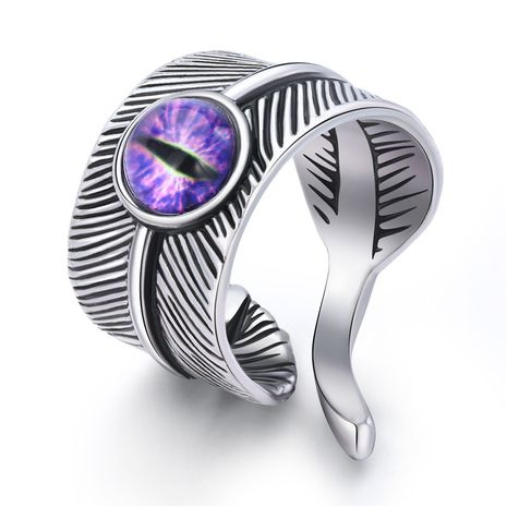 hot sale jewelry trend men's ring retro gothic devil's eye feather ring wholesale nihaojewelry NHGO235298's discount tags