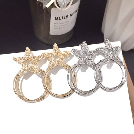 Korean new fashion five-pointed star circle silver needle earrings hip-hop earrings wholesale nihaojewelry NHFT235303's discount tags