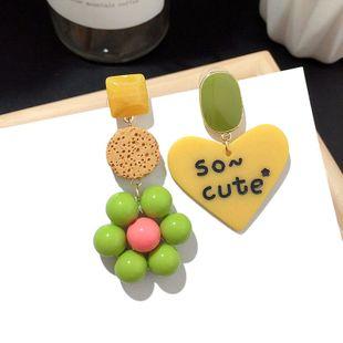 Charming jewelry Korean new asymmetric love earrings contrast color cartoon silver needle earrings wholesale nihaojewelry NHFT235304's discount tags